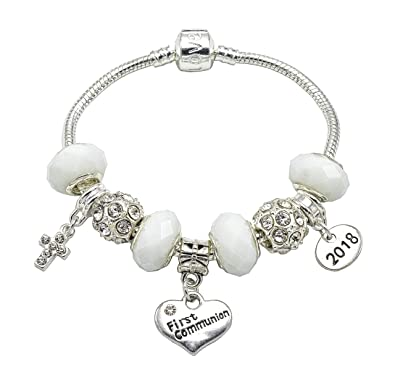 1237def203a668 2018 First Holy Communion Charm Bracelet for Girls With Communion Card