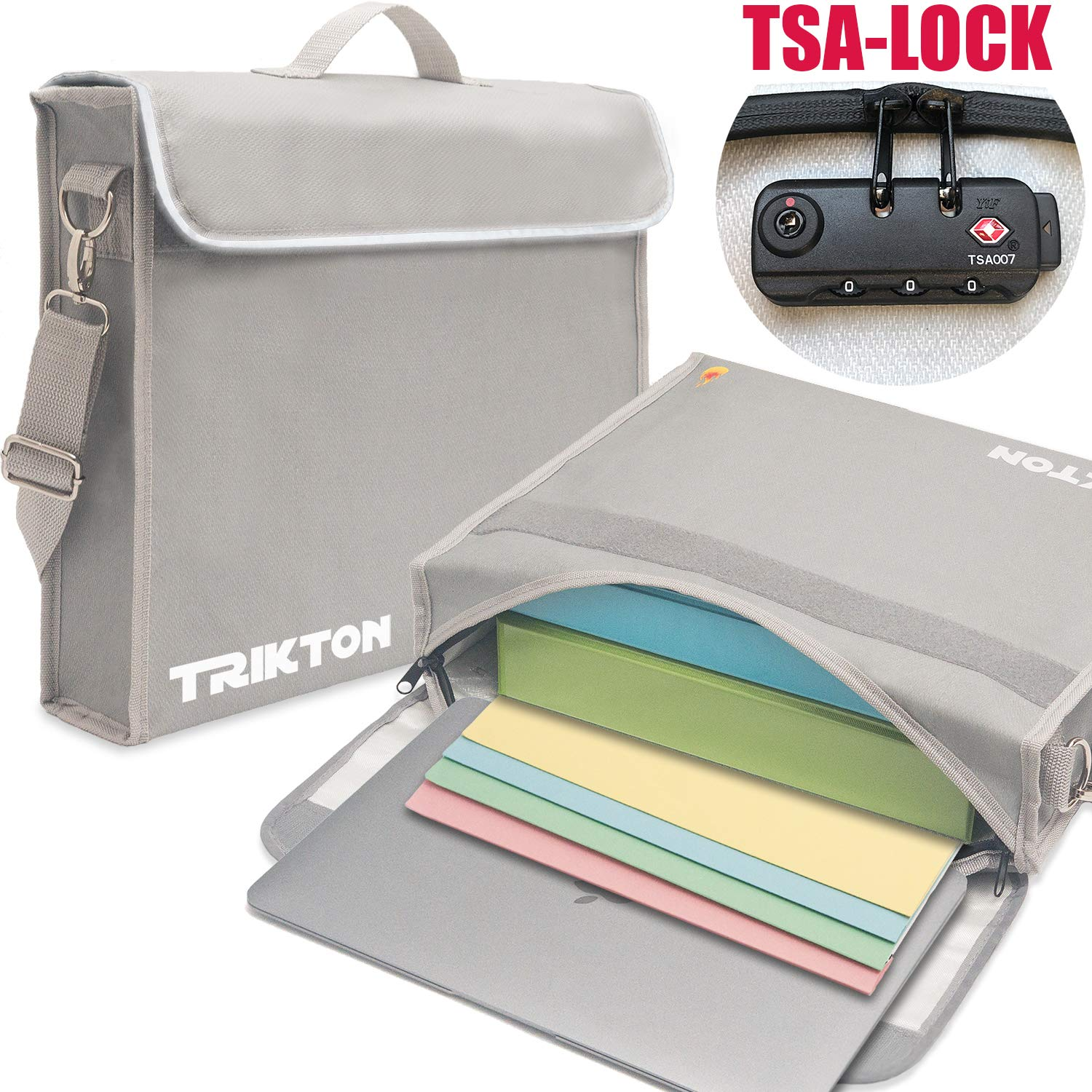 Trikton Fireproof Document Safe Bag with Lock TSA, XL Silver, Visible in The Dark, Stores Bulky Binders Without Fold Them, X-Large 15x12x3 Fire and Water-Resistant Briefcase   Lock Box for Documents
