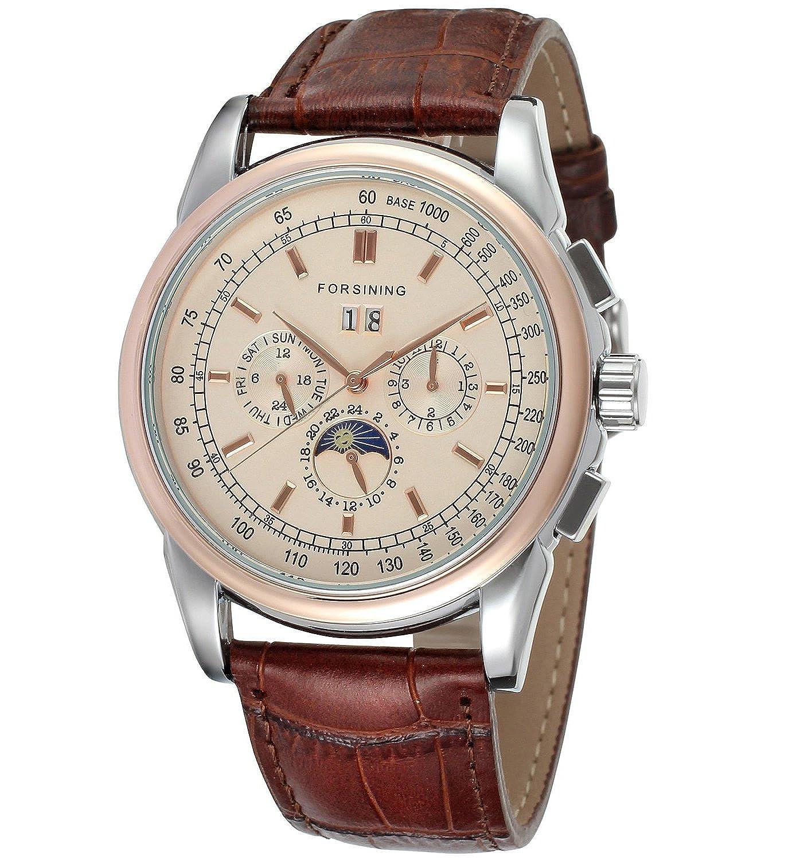 Carrie Hughesメンズ高級ステンレススチールケースブラウンレザー防水Mechanical Automatic Watches cha319g B06ZZDZYCR