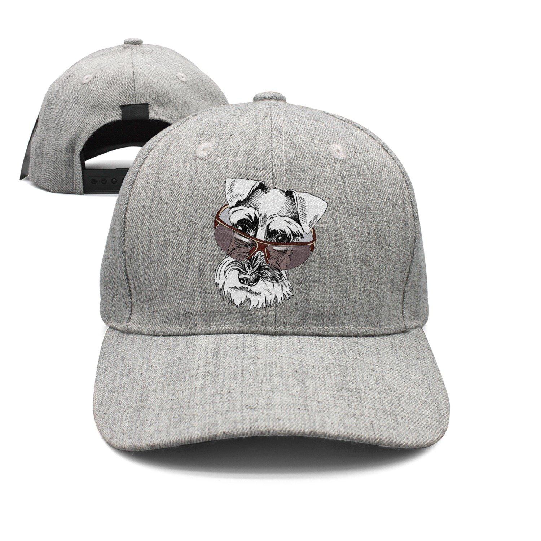 Cute Schnauzer in A Dark Sunglasses Woolen Peak Cap Snapback Hat Vintage Snapbacks Grey
