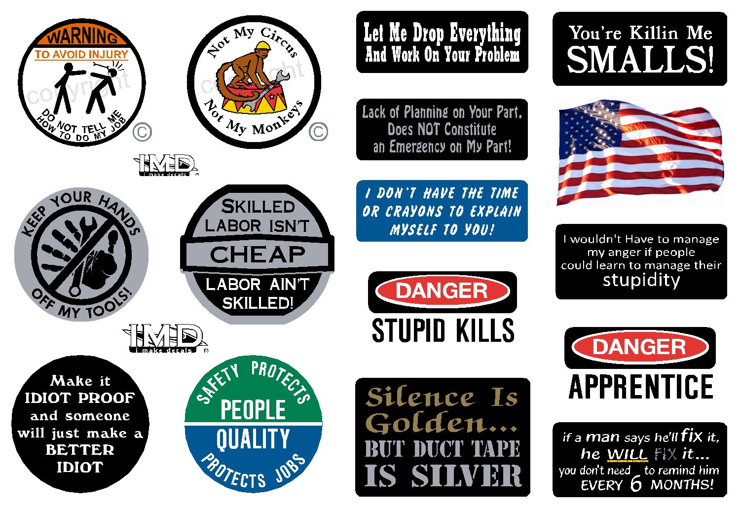 16-Pack, I Make Decals, Hard Hat, Lunch Box, Tool Box Stickers | Proudly MADE IN USA! Funny vinyl decals for Construction, Electrician, Union, Oilfield, Plumber, Mechanics | by I Make Decals (Image #1)