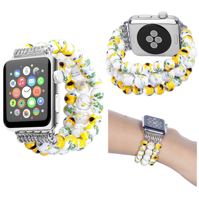 For Apple Watchバンド38 mm / 42 mm、baokaiレディース時計バンド花柄セラミックビーズバンドストラップfor Apple Watchシリーズ1 / 2 / 3 38mm イエロー BIT0095  イエロー 38mm B077TJXXPP