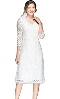 Roamans Womens Plus Size Tiered Eyelet Dress with Lace Trim ...