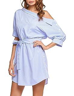 9449b8d1427 UNibelle Women s One Shoulder Striped Shirt Dress Half Sleeve Off Shoulder  Side Split Ruffles Mini Dresses