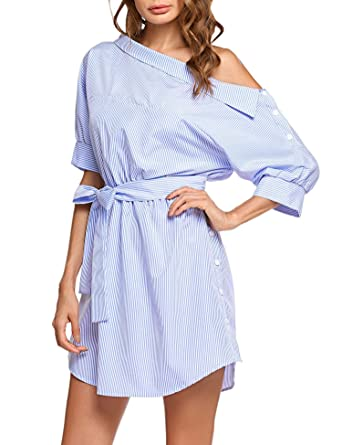 bd22d5fa538d UNibelle Summer Women Dress Blue Striped Shirt Short Dress Mini Sexy Side  Split Half Sleeve Beach