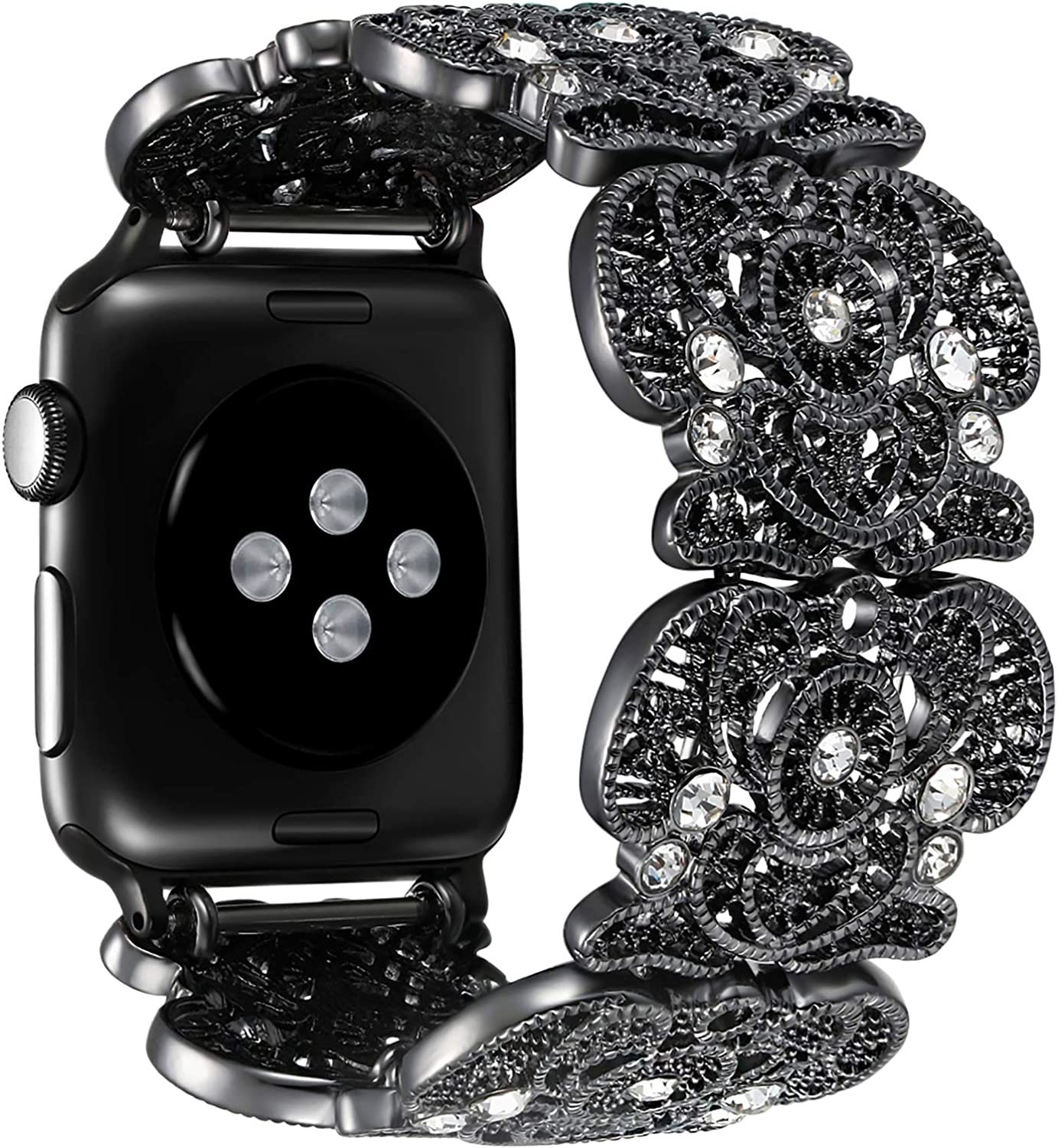 fastgo Compatible with Apple Watch Band Series 6/5/4 38mm/40mm,Women Girl Bohemian Lace Bracelet Vintage Metal Rhinestone Elastic Wristband for Iwatch SE 3/2/1 42mm/44mm Strap Accessories Lady Gifts