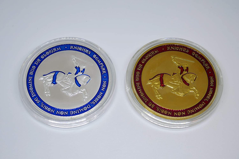 Donatio Cavaliere Crusader Croce Cristo Soldato Placcato Oro e Argento Moneta commemorativa Collezione