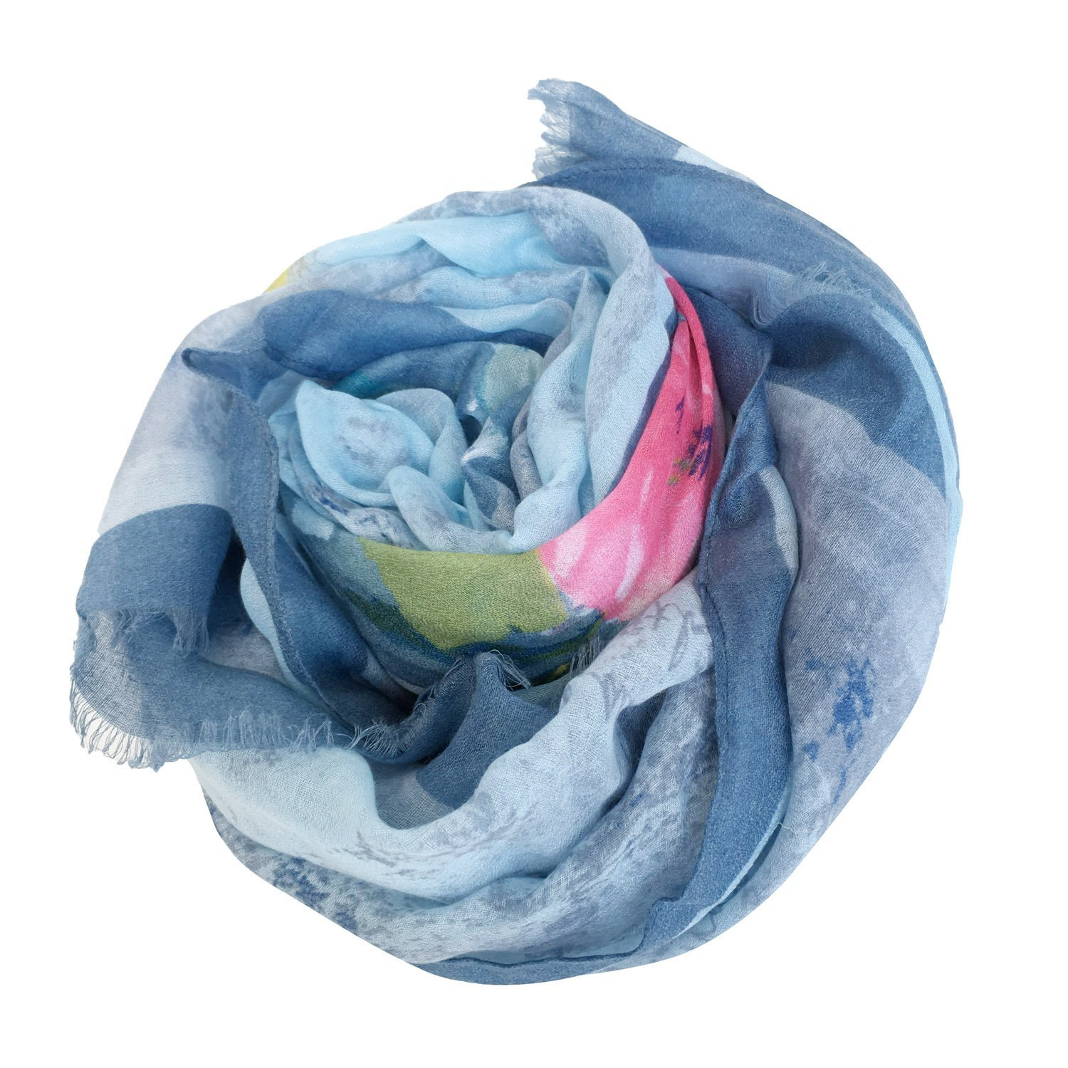 GERINLY Summer Scarfs Rosa Chinensis Print Beach Wrap Womens Travel Shawls (AzureBlue) by GERINLY (Image #6)