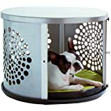 DenHaus BowHaus Modern Dog Furniture - Silver Pet Crate