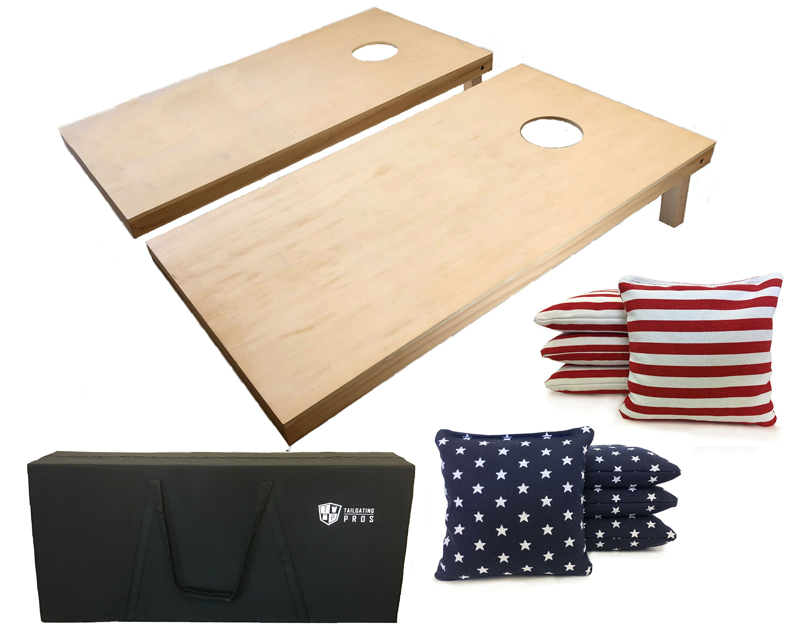 Tailgating Pros 4'x2' Cornhole Boards W/ Stars & Stripes Flag Bags and Carrying Case by Tailgating Pros