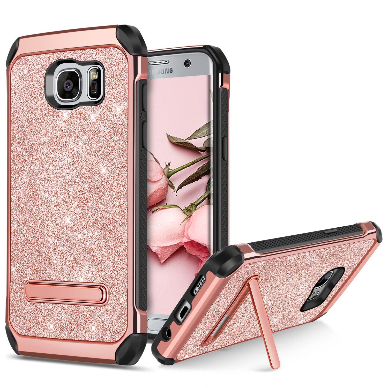 brand new acc98 aa00a BENTOBEN Galaxy S7 Edge Case, Samsung Galaxy S7 Edge Case, 2 in 1 Glitter  Bling Hybrid Soft TPU Hard Covers Kickstand Chrome Shockproof Bumper ...