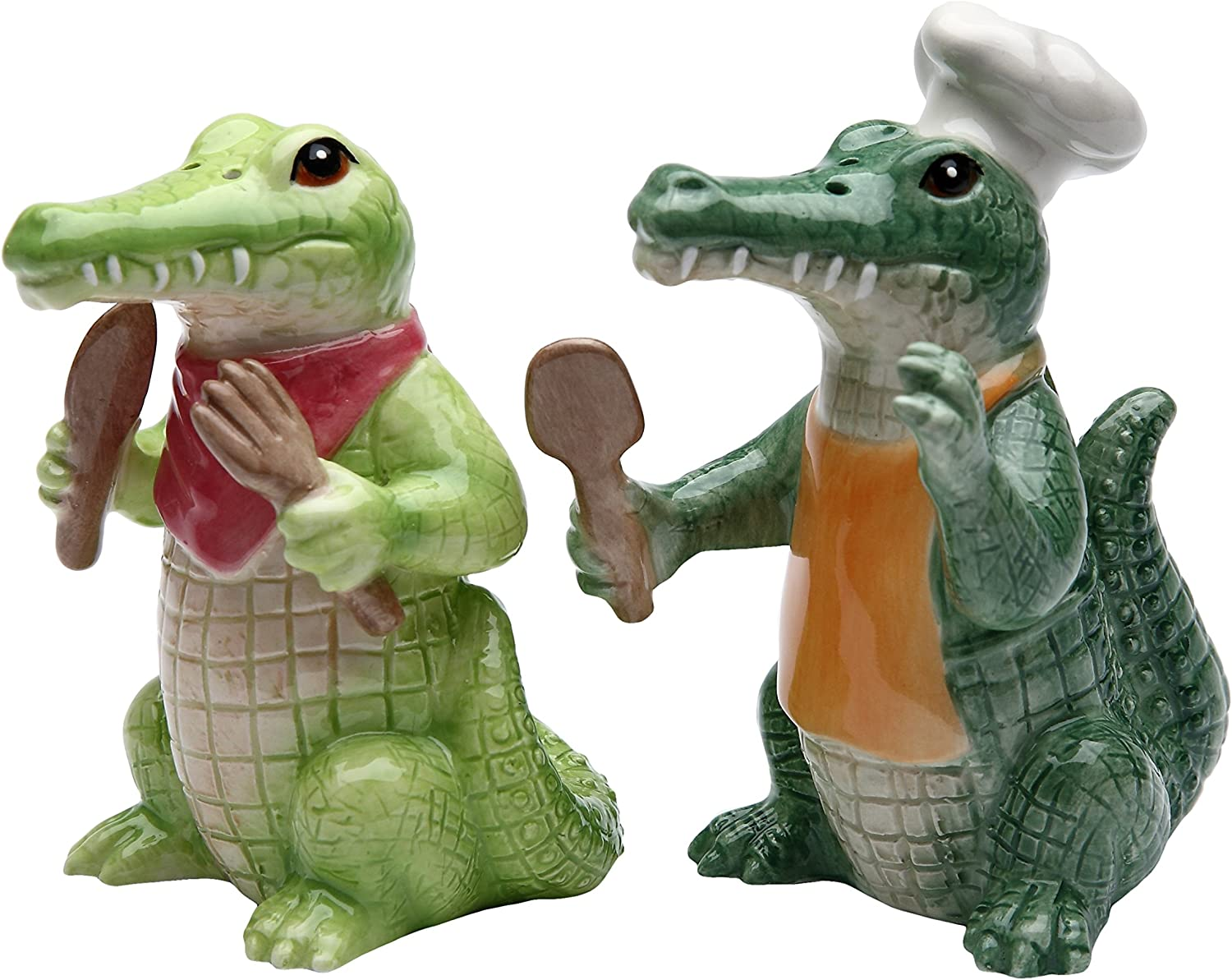 3.75 Inch Painted Alligator Cooking Chef Salt and Pepper Shakers StealStreet SS-CG-20736