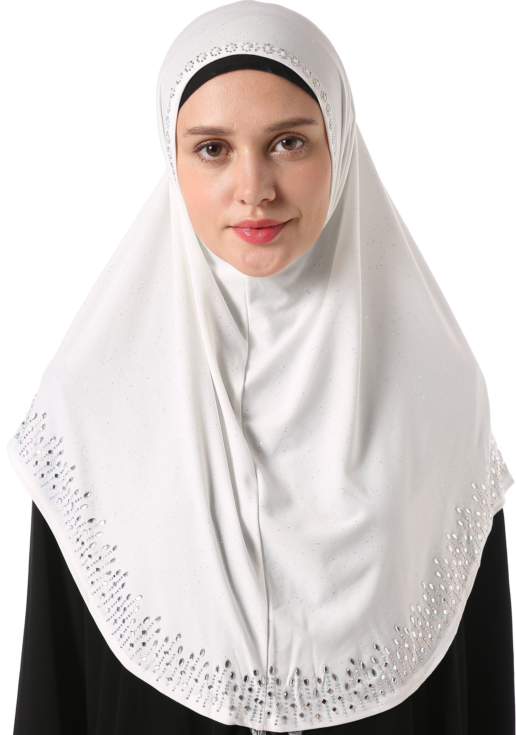 YI HENG MEI Women's Modest Muslim Rhinestones Instant Hijab Jersey Headscarf Ready to Wear Hijab,White