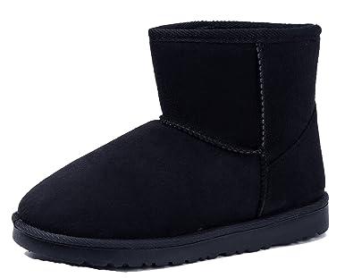 AgeeMi Shoes Damen Slip On Stiefeletten Warm Gefütterte Boots Schlupfstiefel,EuX03 Dunkel Grau 37