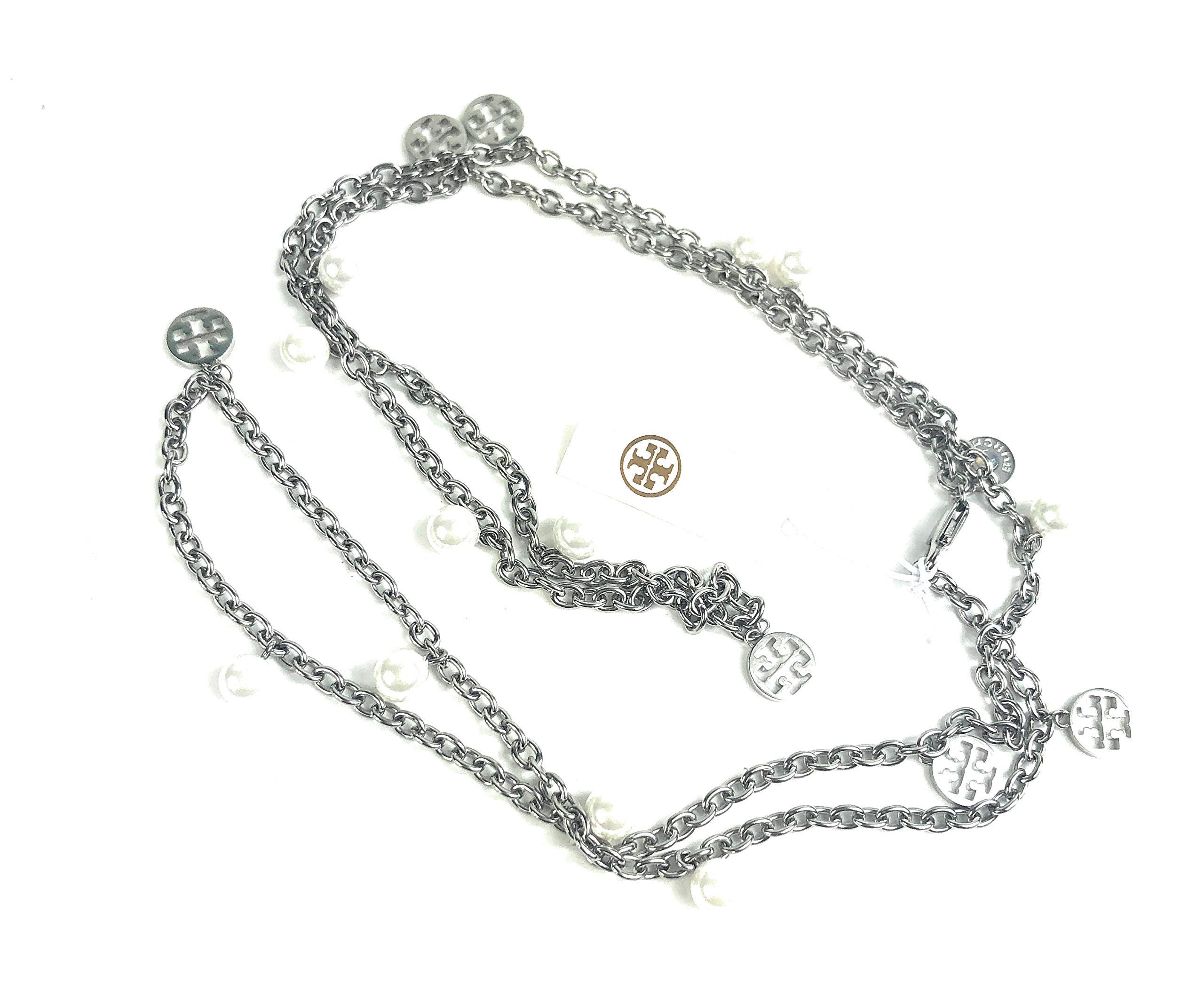 Tory Burch Pearl Logo Charm Rosary Necklace Silver