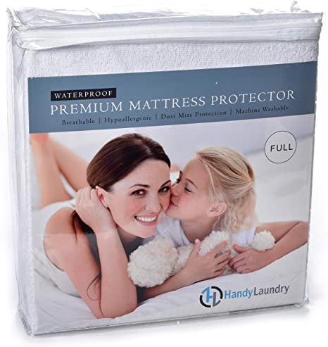 Amazon Com Handy Laundry Full Mattress Protector Waterproof Breathable Blocks Allergens Smooth Soft Cotton Terry Cover The Premium Mattress Protector Will Surely Increase The Life Of Your Mattress Full Furniture Decor