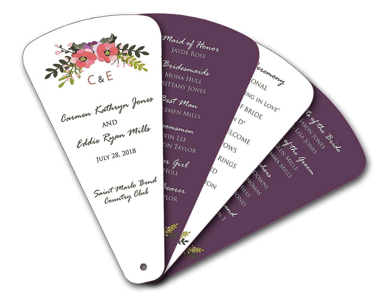 Country Wreath Leaflet 4 Petal Blade Wedding Personalized Paper Hand Program Fans - Die Cut Swivel - Set of 20