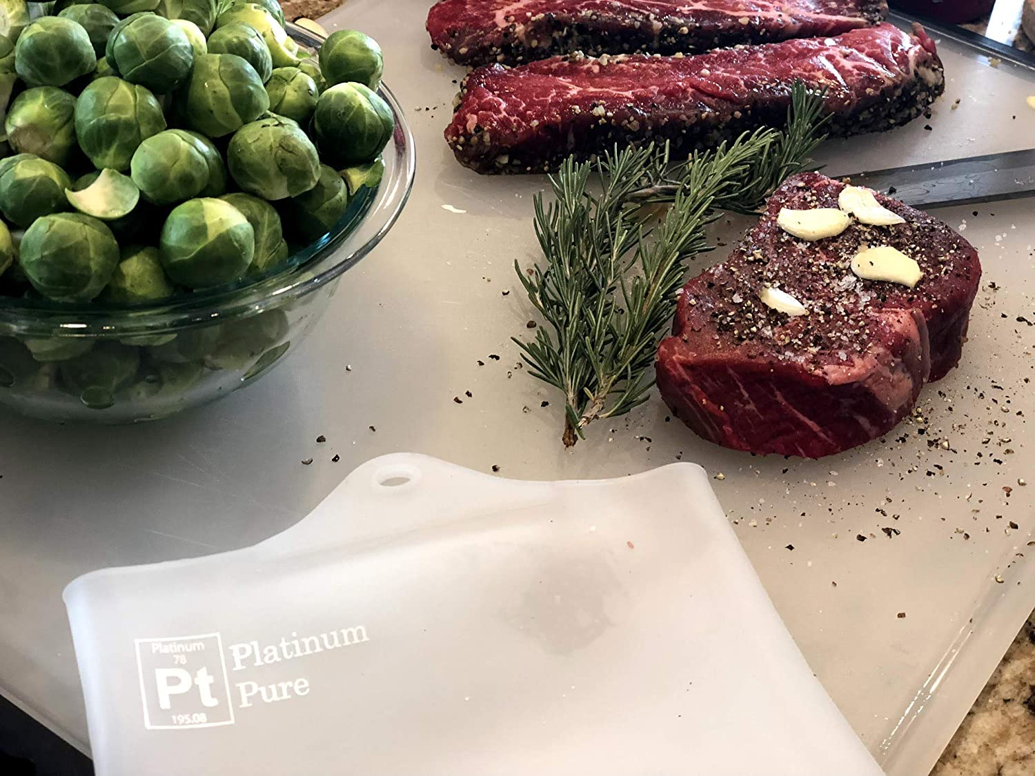 Platinum Pure - Large Reusable Sous Vide Bags - Set of 2 BPA Free Bags for Sous Vide Cooking - 100% Pure LFGB Platinum Silicone with no Fillers - Compatible with all immersion circulators, including Joule, Anova, ChefSteps, Kitchen Gizmo, Gramercy Ki