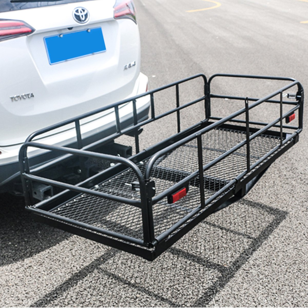 Merax Foldable Cargo Carrier Basket 360 lb Capacity for 2'' Reveiver Black Powder Coated by Merax