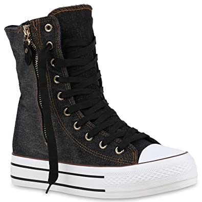 High Sneakerstiefel Sneakers Stiefelparadies Top Boots Damen gyf76b
