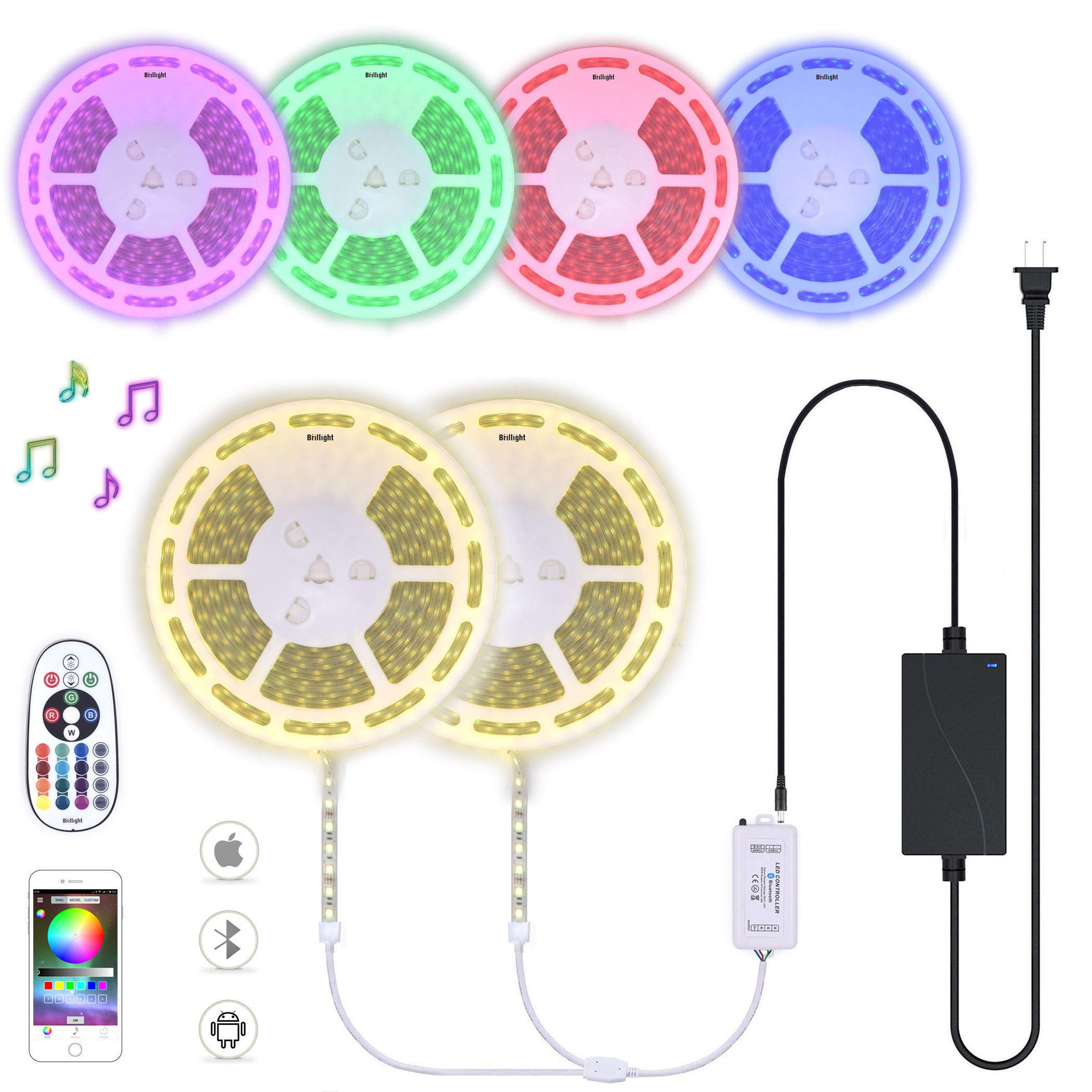 60 Ft LED Light Strip 12V Bluetooth Controller RGB Colors Changing Flexible Rope Lights with Infrared Remote and Power (Waterproof 60 Feet, 30 + 30Ft by Splice Connector)