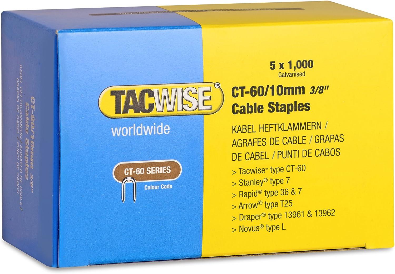 Tacwise 0355 Bo/îte de 5000 Agrafes pour c/âble CT-60//12 mm Blanc