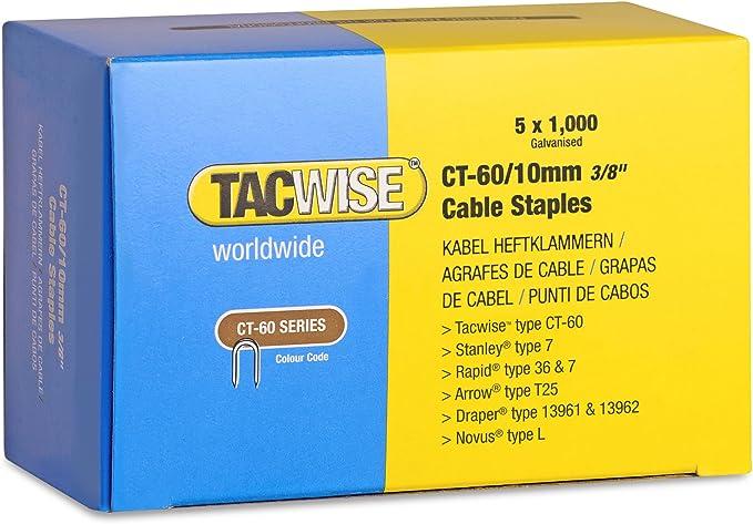 Tacwise 0354 Bo/îte de 5000 Agrafes pour c/âble CT-60//10 mm Blanc