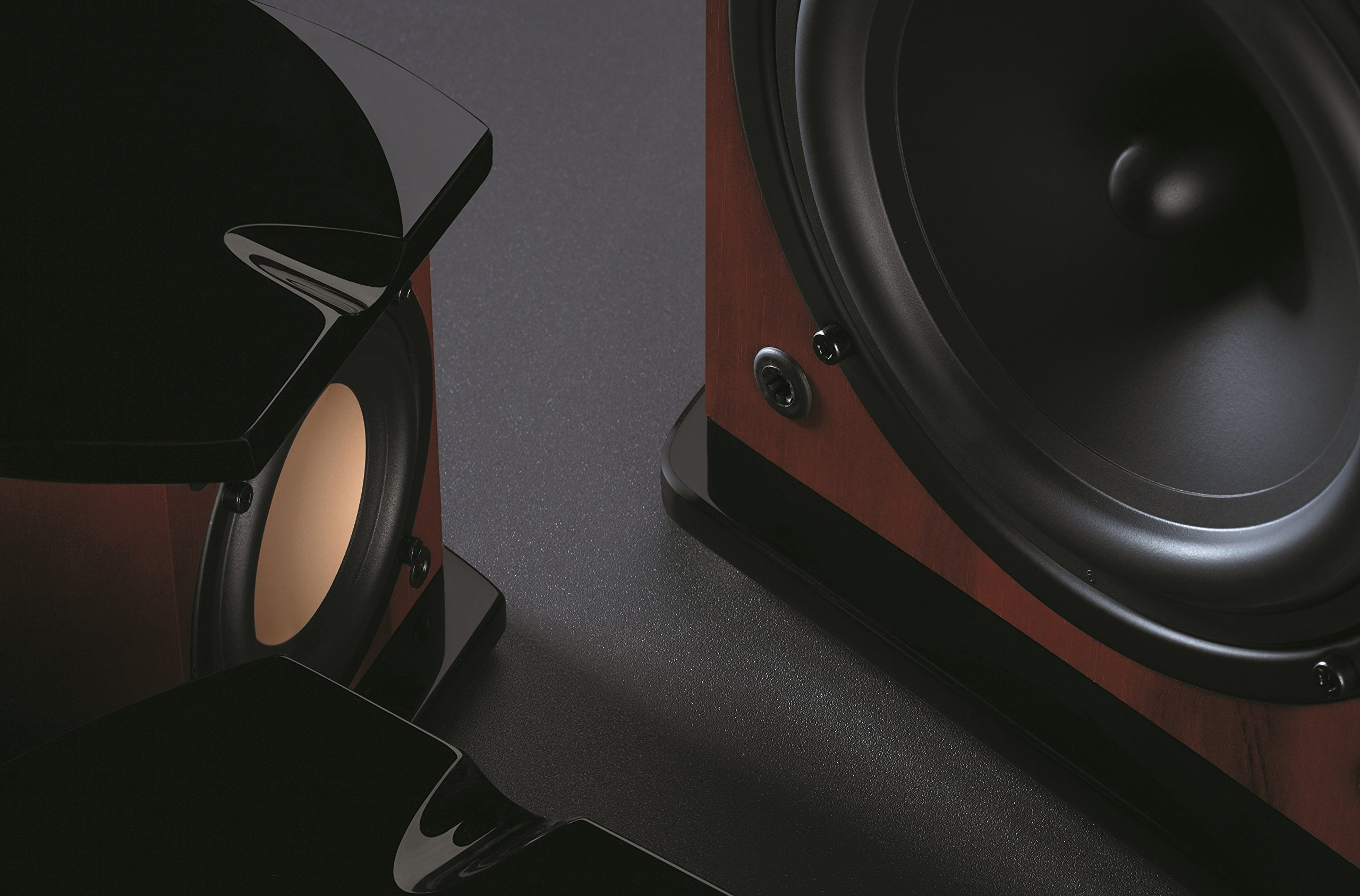 Swan Speakers - M20W - Beautiful Powered 2.1 Living Room Laptop Speakers -  6'' Subwoofer - Rosewood with Pink Gold Aluminium Drivers and Piano Finish - 50W RMS Internal Amplifier by Swan Speakers (Image #6)