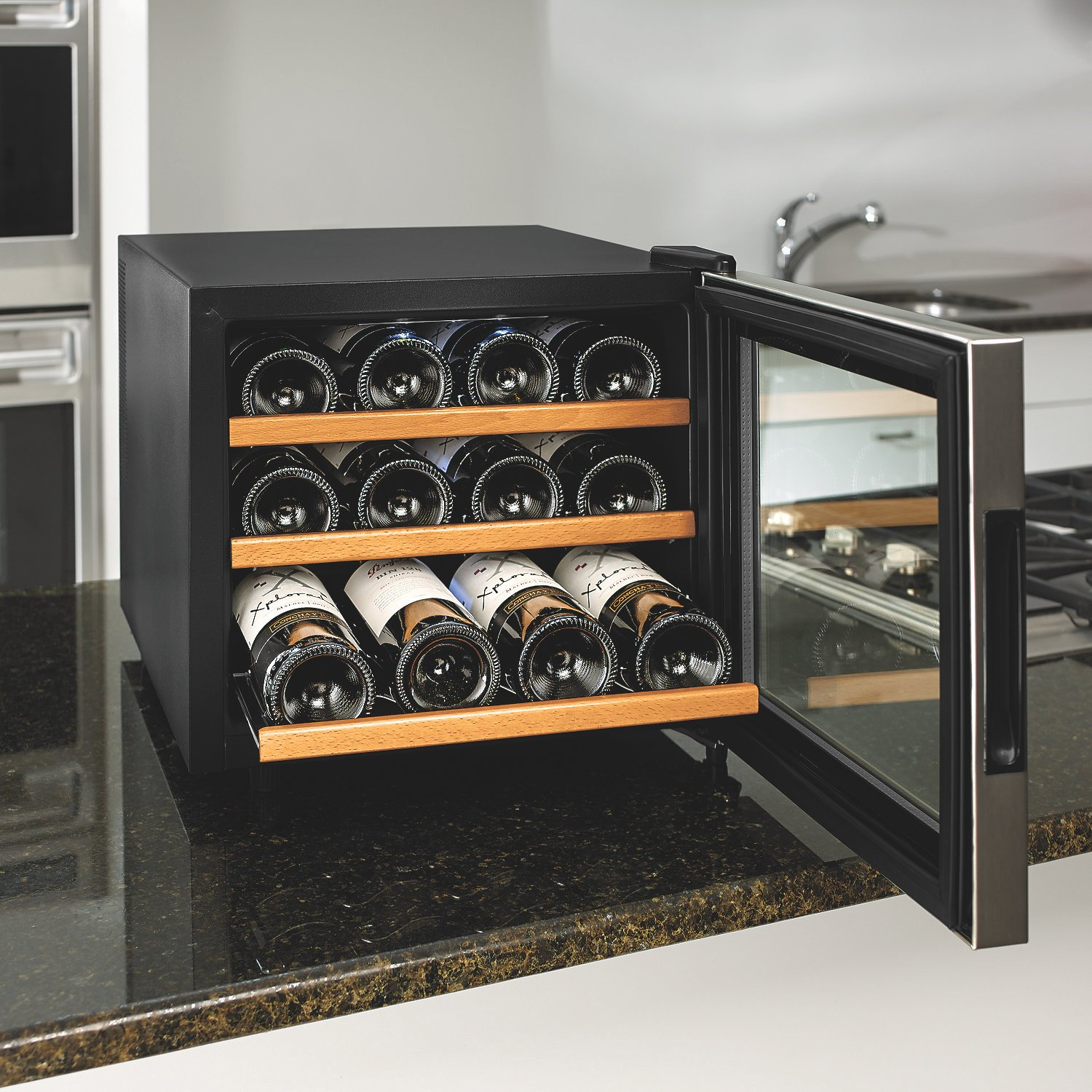 Wine Enthusiast 272 02 13W Stainless Steel/Wood Shelves Silent 12-Bottle Wine Cooler, Stainless by Wine Enthusiast (Image #2)