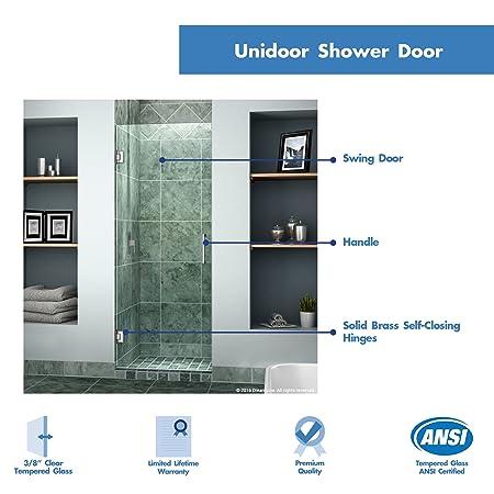 Dreamline Unidoor 25 In Width Frameless Hinged Shower Door 38