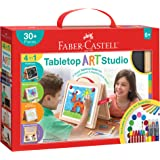 Faber-Castell Tabletop Art Studio - Wooden Easel with Art Supplies for Kids