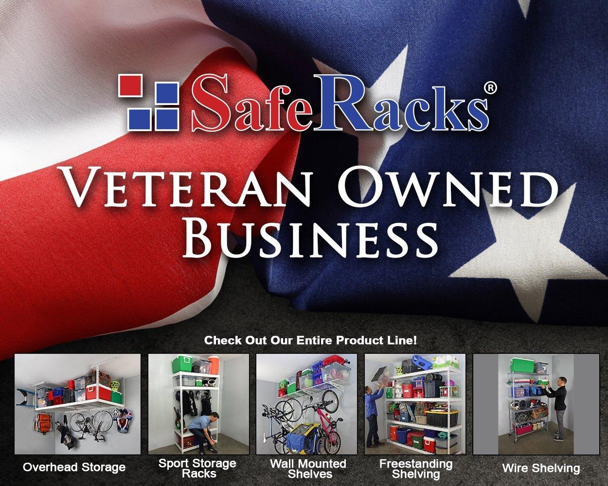 SafeRacks   Garage Wall Shelf Two-Pack 18''x48''   Bike Hooks