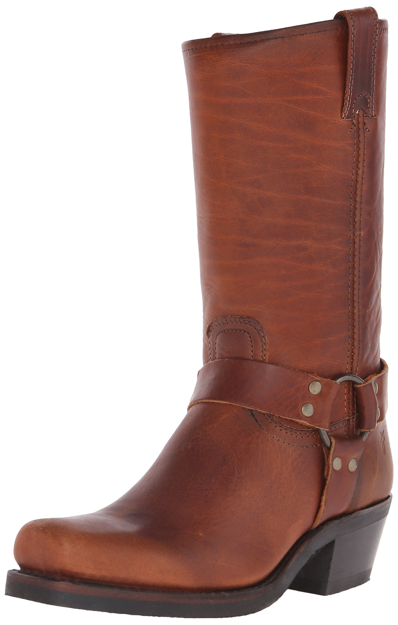 FRYE Women's 12R Harness Boot, Cognac Washed Oiled Vintage, 7 M US