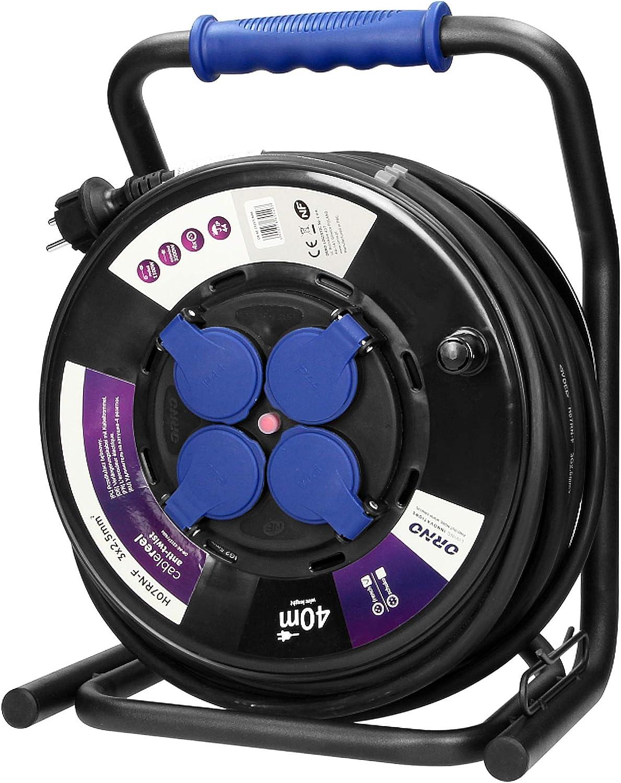 ORNO OR-AE-13157 Kabeltrommel Au/ßenbereich 20m 4-Fach IP44 3200W Anti-Twist-Sockel-System GS