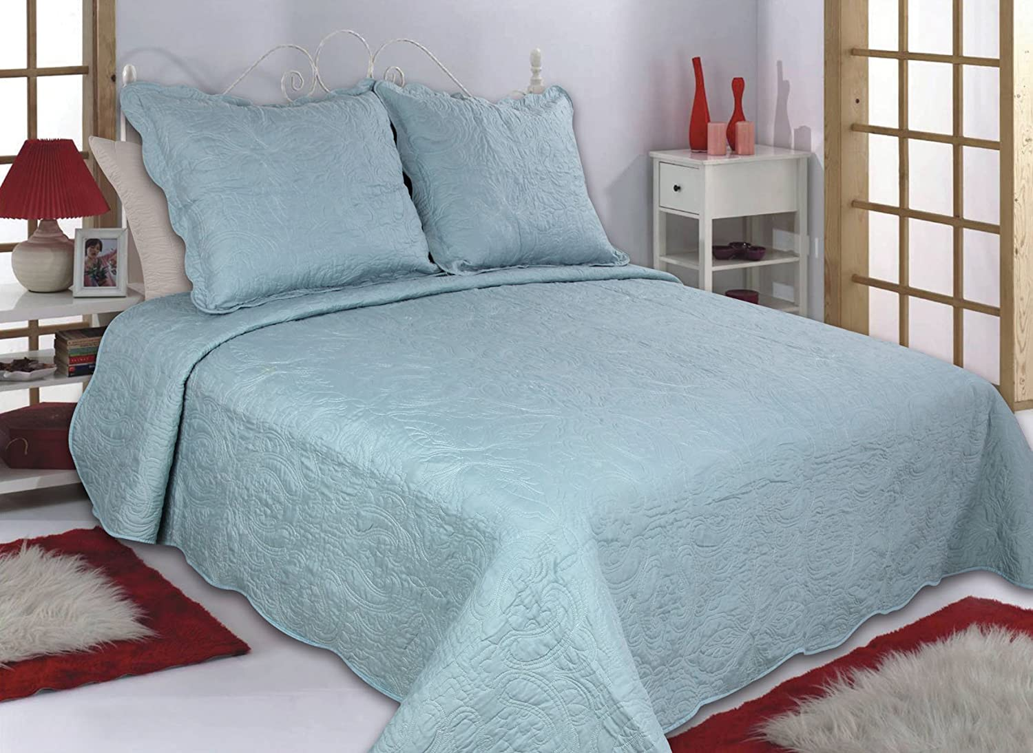 All For You 3Pc Reversible Quilt Set-Full/Queen Size-Aqua