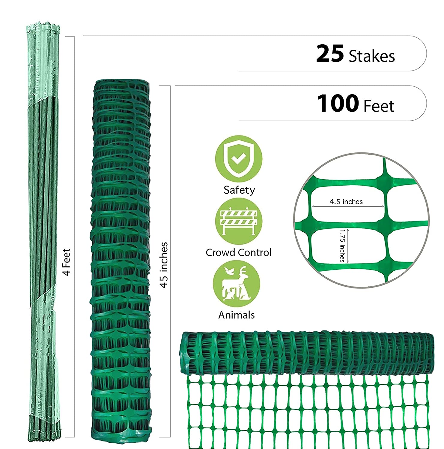 1//2x 60 Pack Of 20 Green Garden Plant Stakes Netting Post Fence Post Hollow Stake Mr