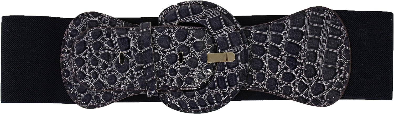 TFJ Women Faux Leather Elastic Fashion Wide Belt Hip High Waist Big Buckle Navy Blue