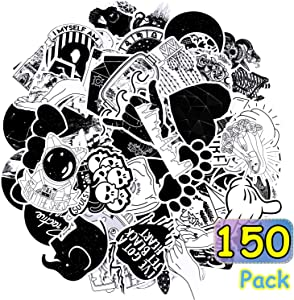 150 Pieces Gothic Stickers Black and White Stickers Skull Gothic Vinyl Stickers Bumper Stickers Waterproof Vinyl Stickers for Laptop Luggage Notebook Skateboard Cars Motorcycle Bicycle Decals