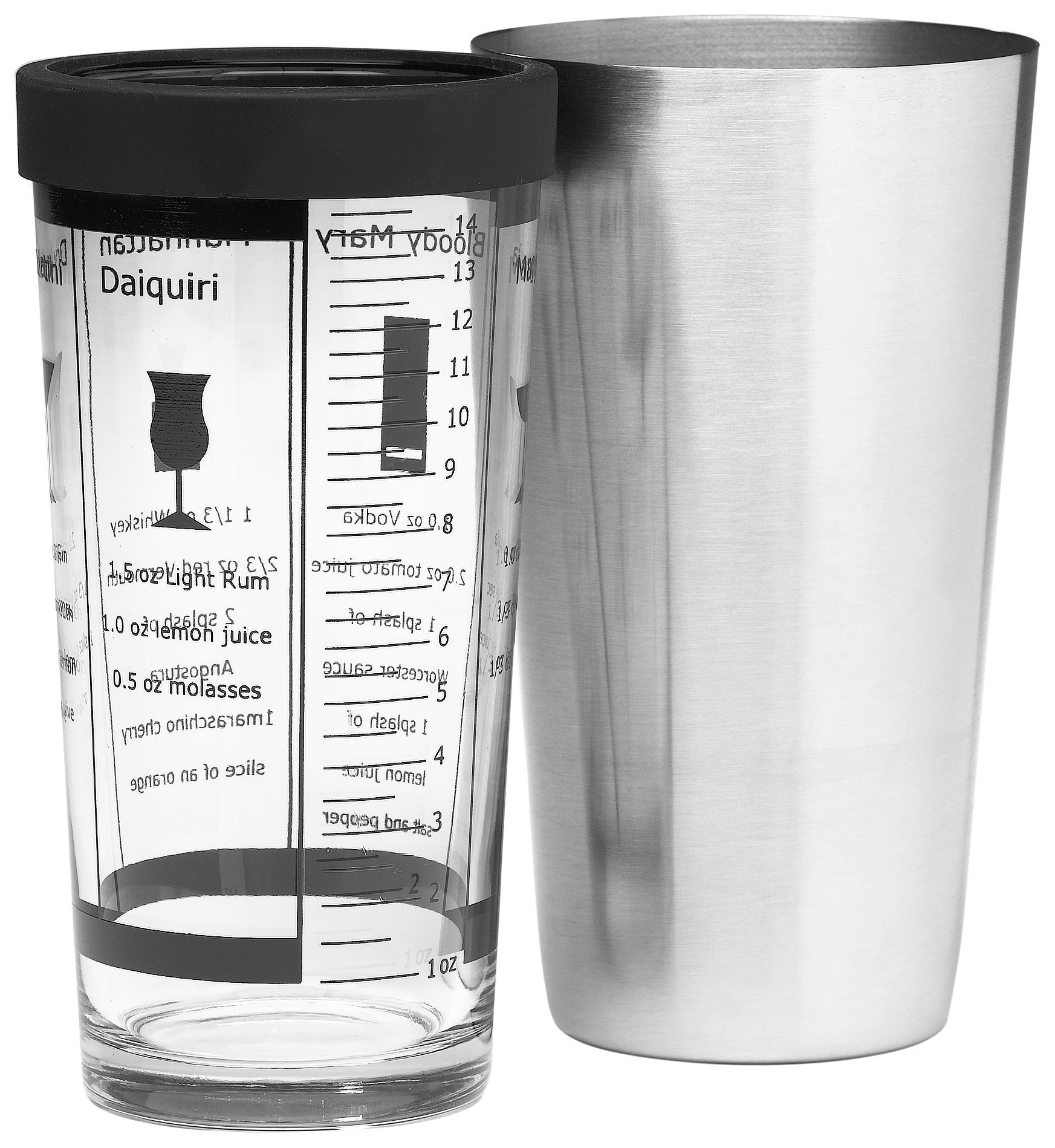 Bormioli Rocco Pary Boston Cocktail Shaker with Glass, Gift Boxed
