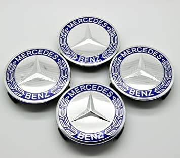 WHEEL CAP EMBLEMS BLUE 75MM FOR MERCEDES B CLASS CARS