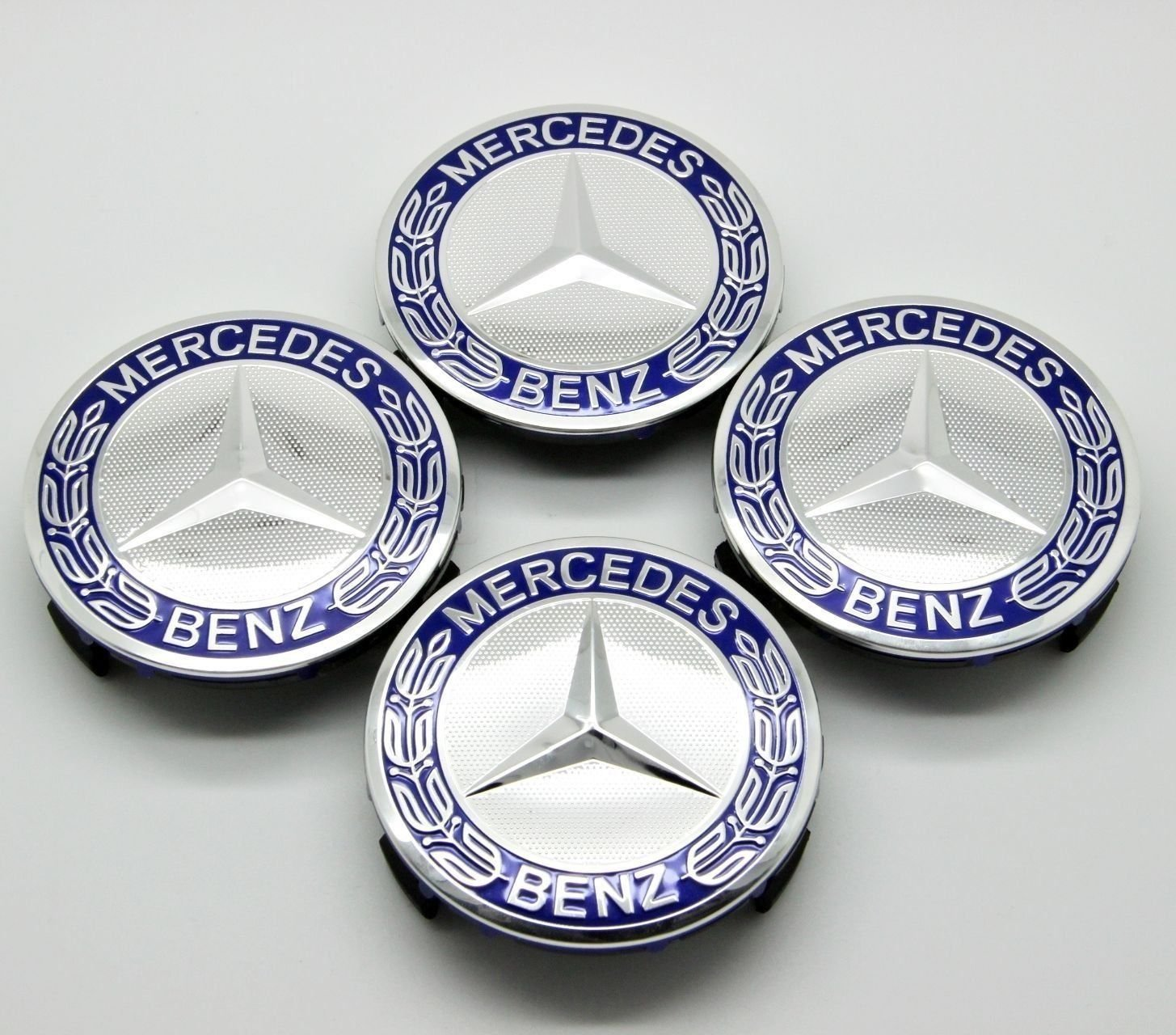 WHEEL CENTER CAPS BLUE RIM HUBCAPS MB MERCEDES-BENZ EMBLEM 4PCS 75mm C/E/S/CLS AOWIFT