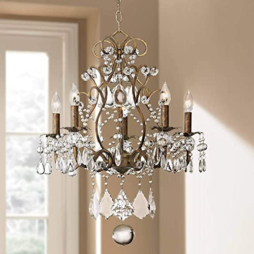 Jolie Bronze Chandelier 19 1/2″ Wide Crystal Beaded 5-Light Fixture