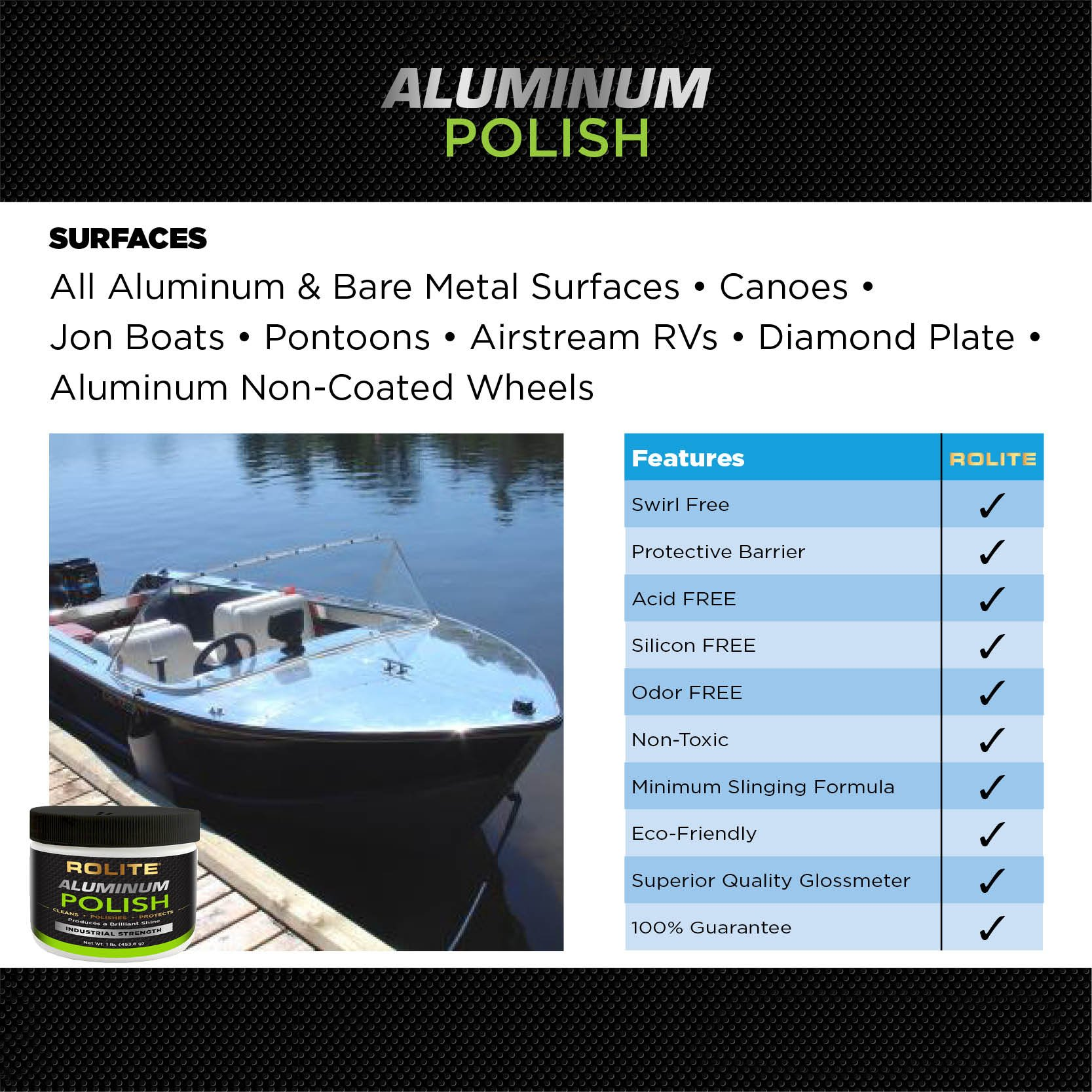 Rolite Aluminum Polish (2lb) for All Aluminum & Bare Metal Surfaces, Canoes, Jon Boats, Pontoons, Diamond Plate, Aluminum Non-Coated Wheels 2 Pack by Rolite (Image #4)
