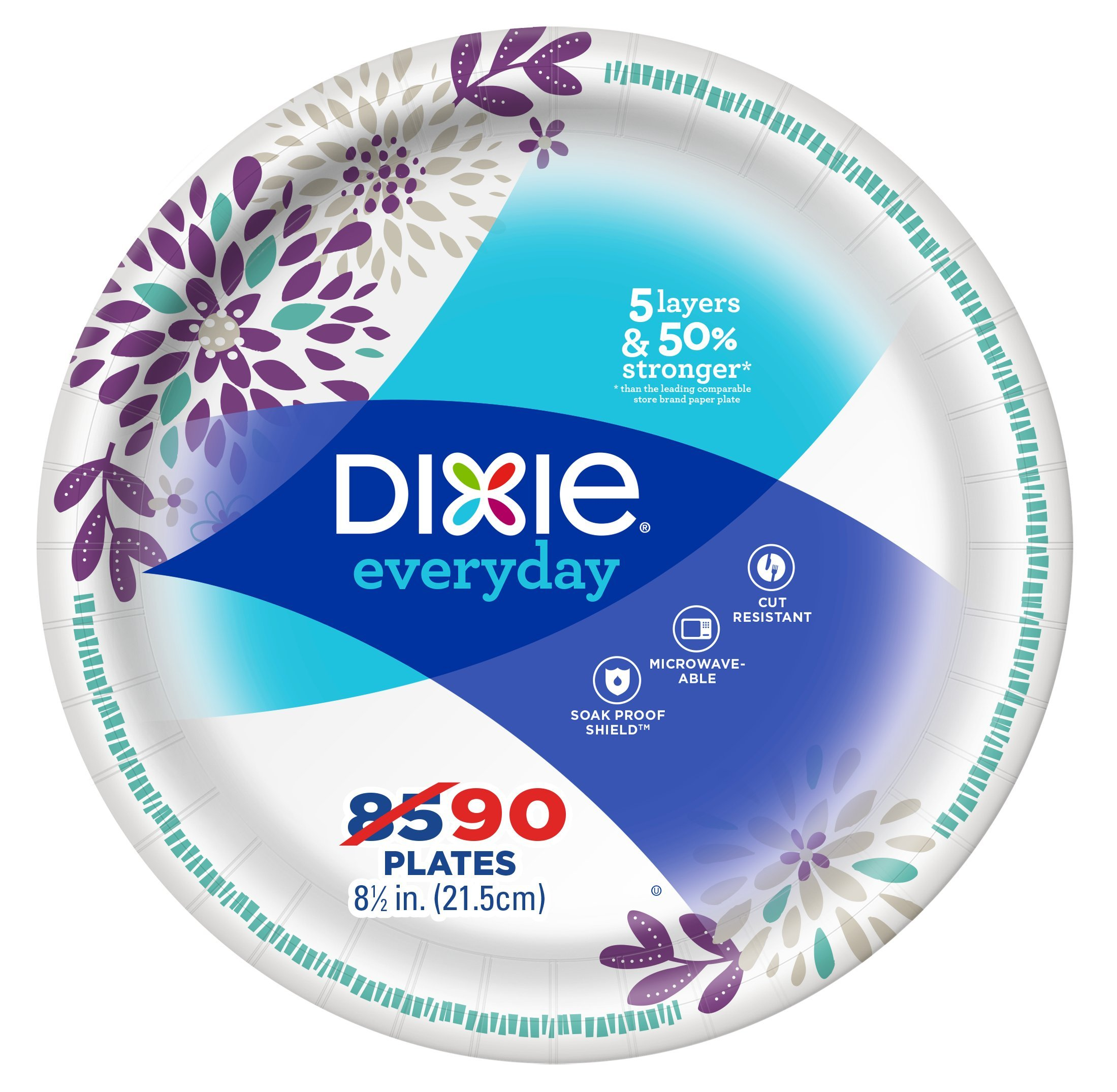 """Dixie Everyday Paper Plates, 8 ½"""" Plate, 90 Count, Lunch or Light Dinner Size Printed Disposable Plates"""