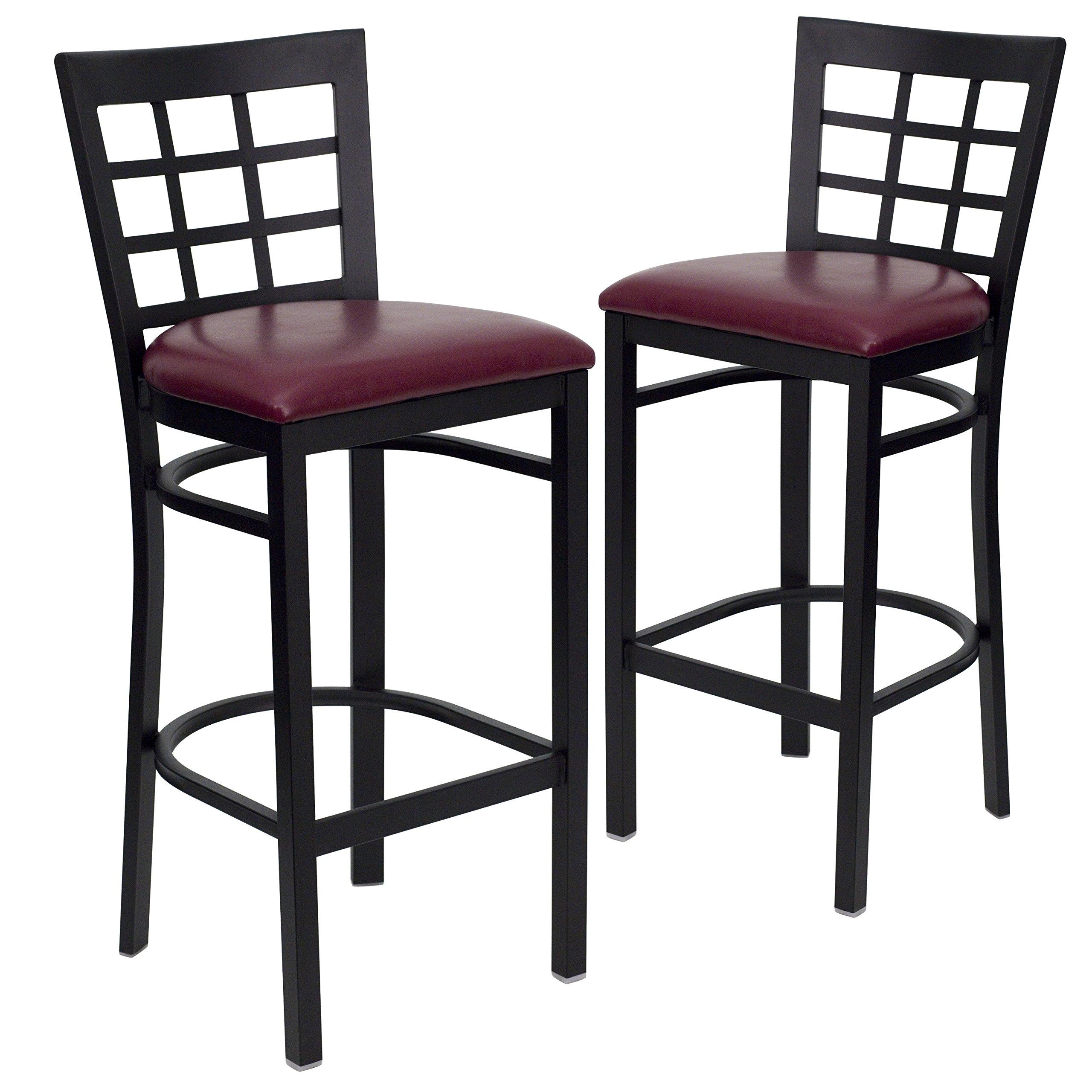 Flash Furniture 2 Pk. HERCULES Series Black Window Back Metal Restaurant Barstool - Burgundy Vinyl Seat