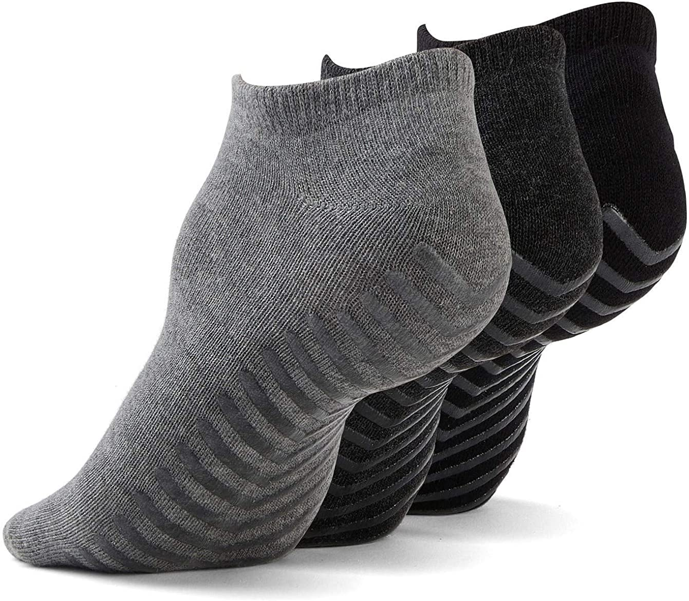 Non Slip Socks for Women or Men, Barre Socks With Grips, Non Skid Socks for Yoga, Hospital Socks (3 pairs)