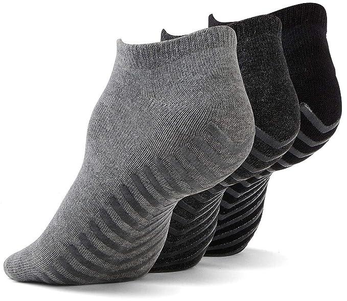Gripjoy Grip Socks for Women and Men (3 pairs) - Low Non Slip Socks for Hospital, Yoga, Pilates, Pure Barre