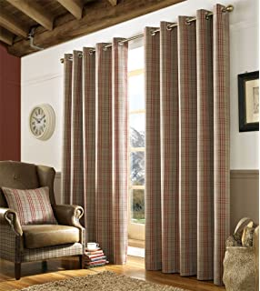 Homescapes Beige And Red Tartan Check Plaid Eyelet Curtain Pair Width 46 X 54 Inch Drop