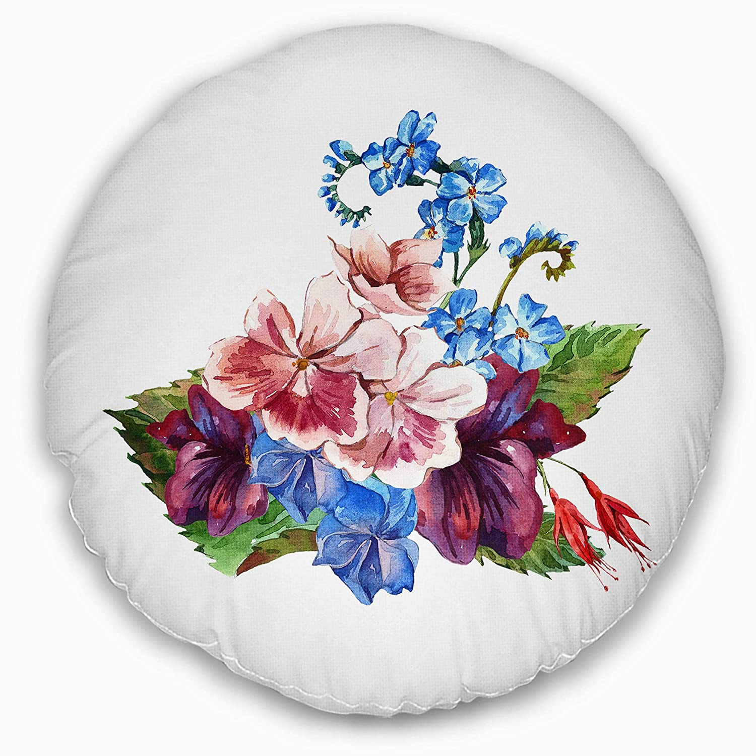 Insert Printed On Both Side Sofa Throw Pillow 20 Designart CU13302-20-20-C Vintage Watercolor Floral Round Cushion Cover for Living Room