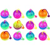 Wish you have a nice day 6pcs Colors Elastic Light-up Spike Ball with LED flash light up,Children's Kid's Toy Yoyo ball for fun/Games.